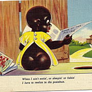 "1940s Black Americana Linen Postcard ""I Luvs To Reelax In Dis Posishun"" Chocolate Drop Series"