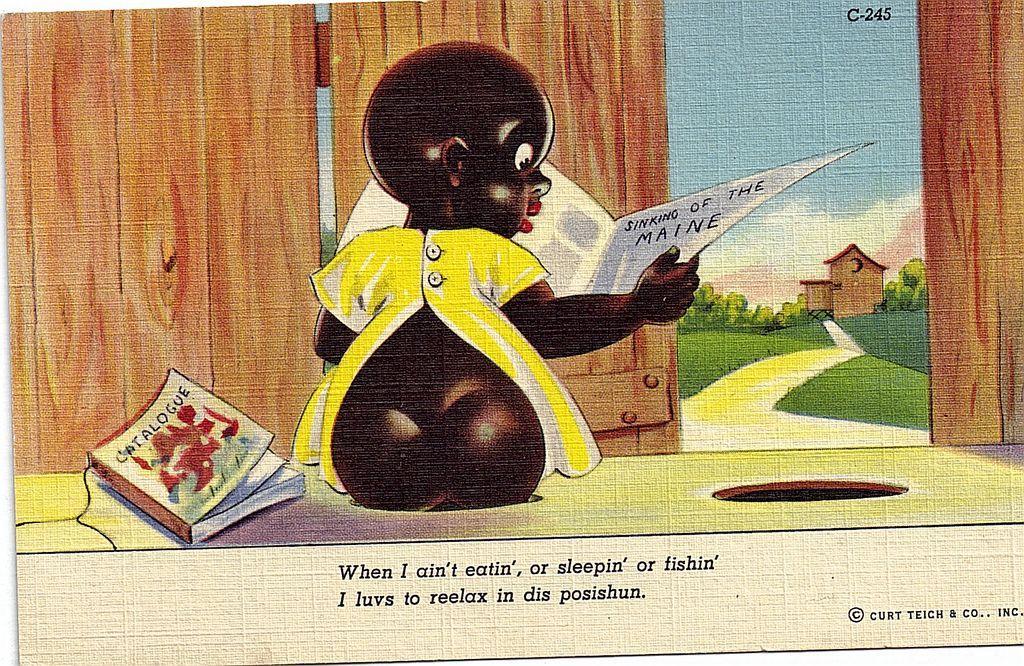 "1940s Black Americana Linen Postcard ""I Luvs To Reelax In Dis Posishun"" Chocolate Drop Series"