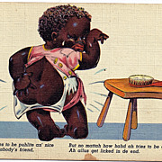 "1946 Black Americana Linen Postcard"" I Allus Get Licked In De End"""