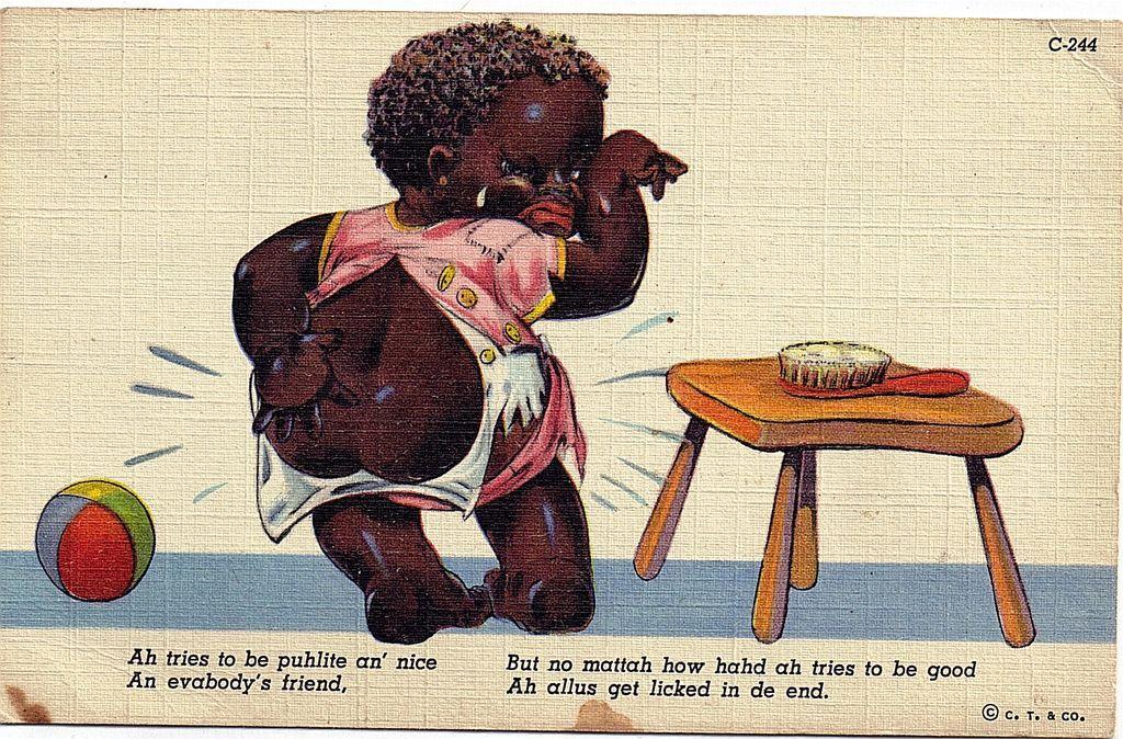 "1946 Black Americana Linen Postcard"" I Allus Get Licked In De End"""