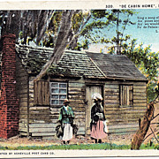 "1928 Black Americana Postcard ""De Cabin Home In Dixieland"