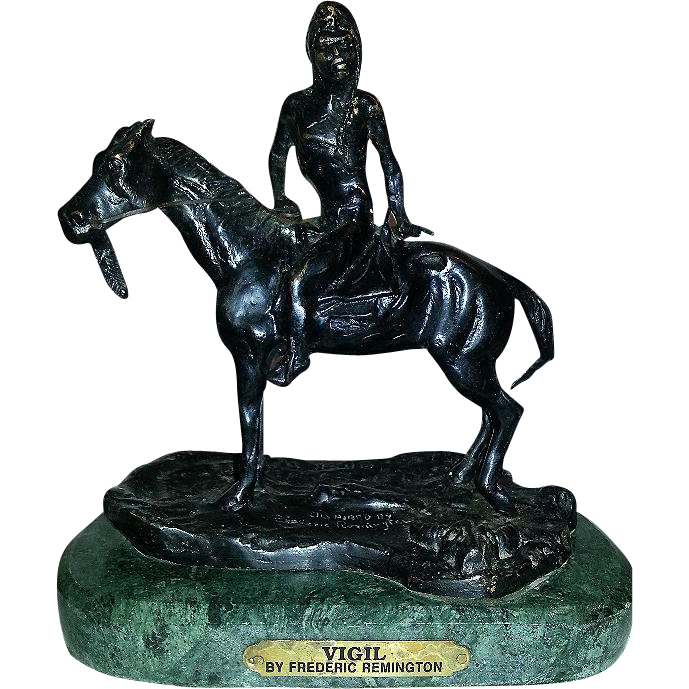 "Cast Bronze Figurine ""Vigil"" Inspired By Frederick Remington Marble Base 14 LBS 6 OZ."