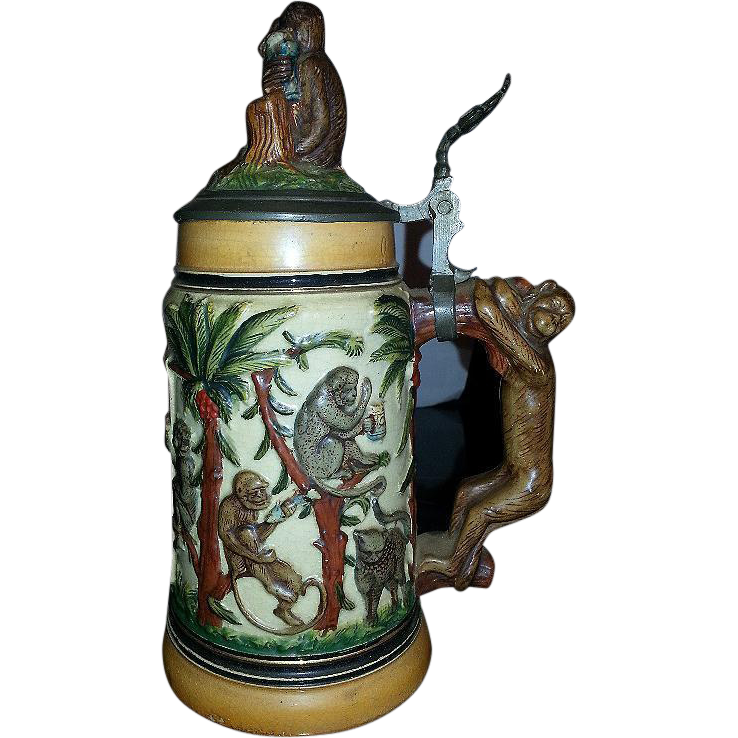 German 1890's Monkey Animals Beer Stein