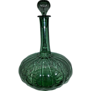 Vintage Colossal Melon Shaped Green Glass Decanter