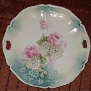 R S Prussia Cake Plate Pink Roses and Green Lilacs
