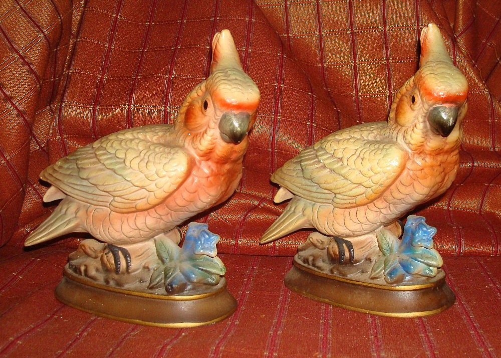 Vintage Pair of Napcoware Colorful Cockatoos