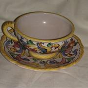 Vintage Deruta Italy Majolica Cup & Saucer