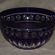 Cobalt Blue Cut To Clear Crystal Bowl Circa 1920