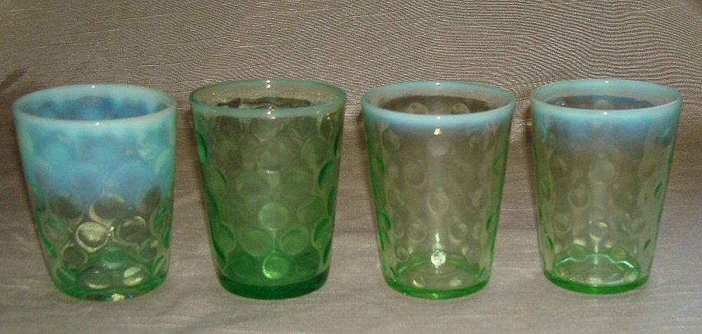 Inverted Coin Dot Opalescent Green & White Tumbler