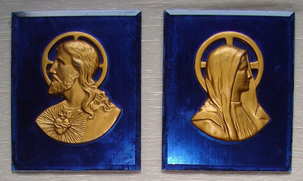 Art Deco Cobalt Blue Wall Plaques : Religious :  Jesus & Mary