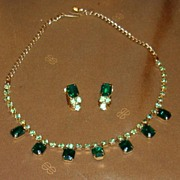 Emerald Green Rhinestone Necklace with earrings