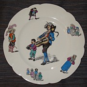 Rare 19th C. French Paris Porcelain Artist H.P. Childs Plate By Hache & LeHalleur
