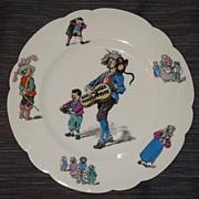Rare 19th C. French Paris Porcelain Artist H.P. Childs Plate By Hache & LeHalleur