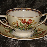 "Crown Ducal "" Tulips "" Pattern:  Cream Soup & Saucer"