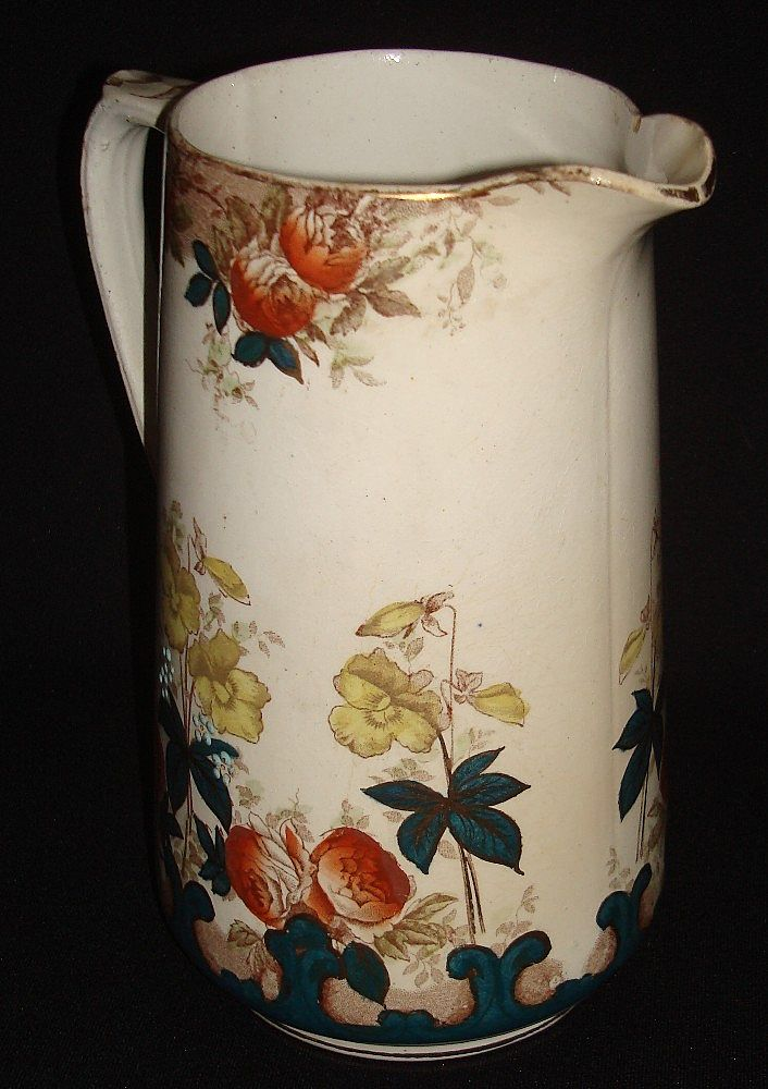 Large English Ironstone Polychrome Pitcher