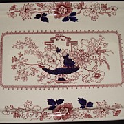 "English Masons "" Brocade "" Pattern - Red & Blue Tray"