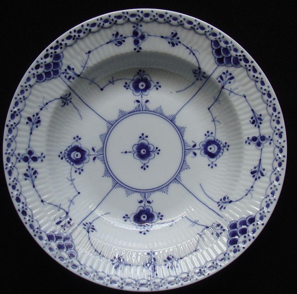 Vintage Royal Copenhagen Blue Flute Pattern Full Lace Soup Bowl