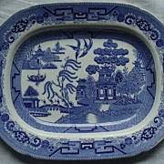 Antique English Blue Willow Platter - Ridgways -Transferware