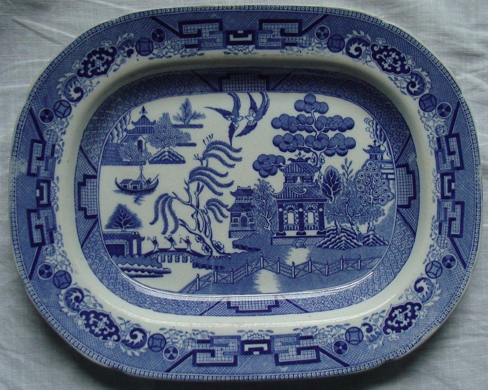 Antique English Blue Willow Platter - Ridgways -Transferware