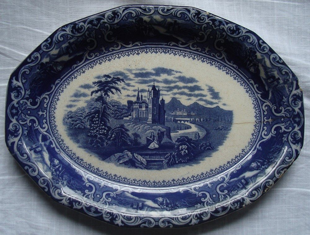 Antique Flow Blue Staffordshire Platter -Transferware