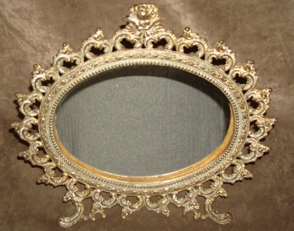 Ornate Victorian Gilt Metal Mirror Circa 1890