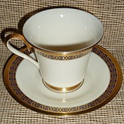 """ Lenox "" Cup & Saucer -Tudor Pattern - Cobalt Blue & Gold"