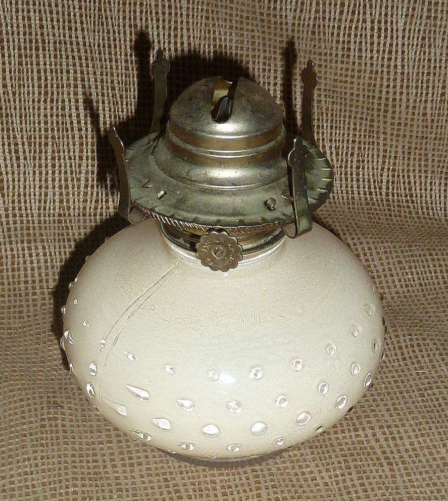 Rare Peach Color Hobnail Oil Lamp