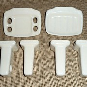 1950's Bathroom Accessories Ceramic Wall Mounts - Egg Shell