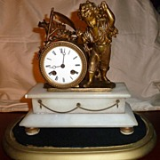 Antique French Bronze & Marble Figural Clock