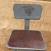 """Vintage Industrial Metal Stool With Back Rest """" Rare """" C. 1940"""