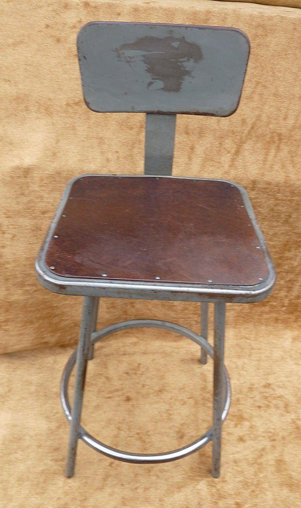 "Vintage Industrial Metal Stool With Back Rest "" Rare "" C. 1940"