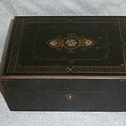 Vintage Gold & Silver Leaf Wood Vanity Box