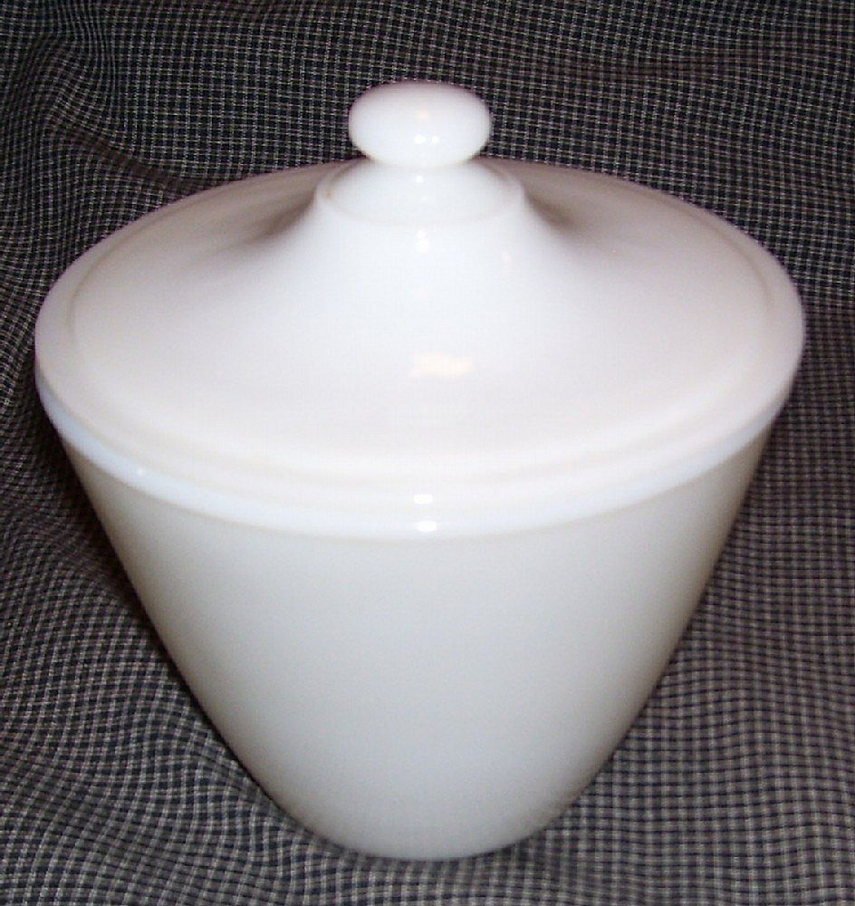 "Anchor Hocking Fire King "" Ivory "" Grease Jar"