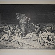 "Antique 19th C.  French Engraving/Print From "" The Vision of Hell "" By Dante"