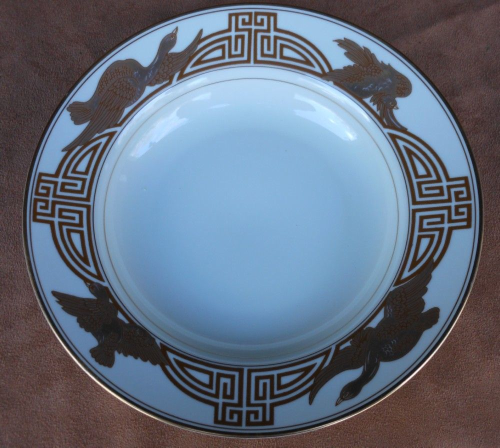 "Fitz & Floyd  "" Golden Heron "" Large Rimmed Soup Bowl"