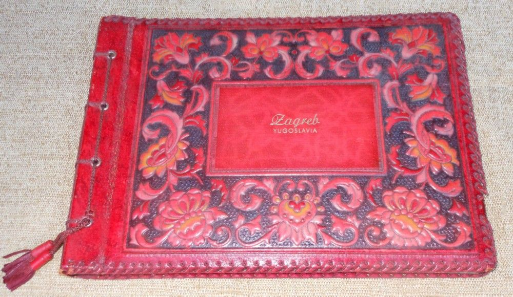Vintage Hand Tooled Embossed Leather Photo Album - Yugoslavia