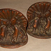 Courting Couple Bronze Clad Bookends/ Book Ends