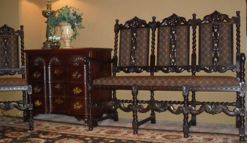 Ornate French Antique Barley Twist Settee & Chair