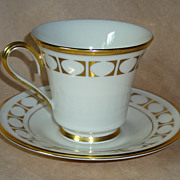 "Lenox China "" Tempo "" Pattern Cup & Saucer"