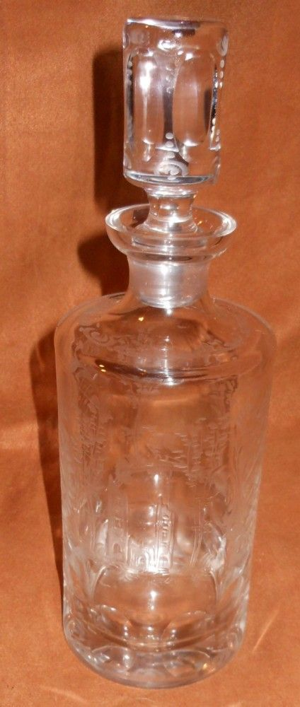 Bohemian Hand Cut /Etched Crystal Decanter
