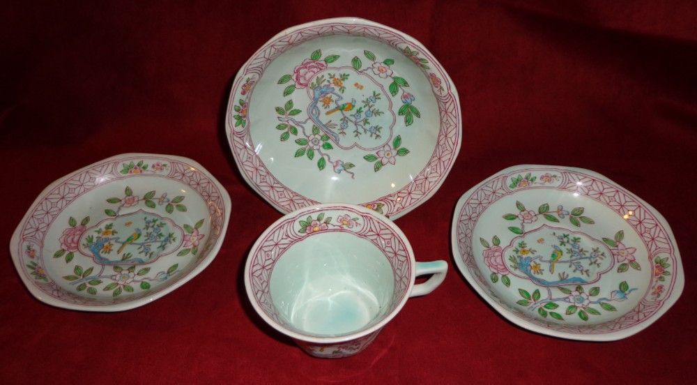 Adams Calyx Ware - Singapore Bird - 4 Assorted Pieces