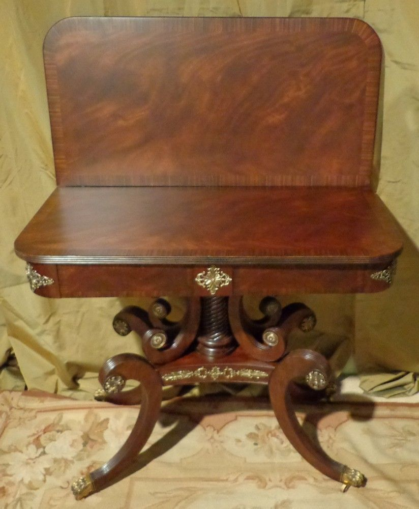 Antique game table chairs - Lloyd Buxton Regency Mahogany Flip Top Game Table