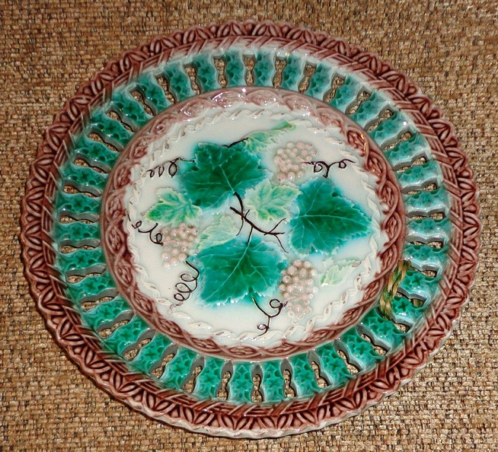 Majolica Reticulated Plate Sold On Ruby Lane