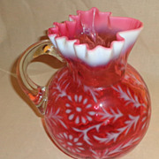 Cranberry & Opalescent -  Daisy & Fern Pattern -  Ball Pitcher