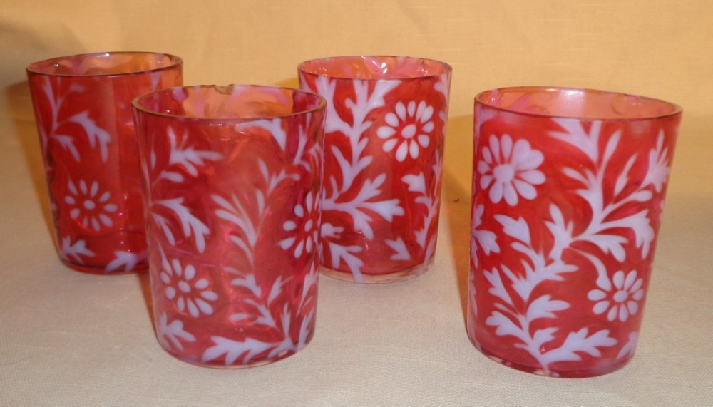 Cranberry & Opalescent  - Daisy &  Fern Pattern Tumbler