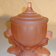 Art Deco Pink Satin Glass Powder Jar With Nudes