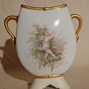 1890's Redon Limoges Double Handle Cherub & Floral Vase