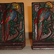 Art Deco Cast Iron Cold Painted Parrot Bookends