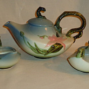Hull Pottery Woodland 3 Piece Tea Set - Blue
