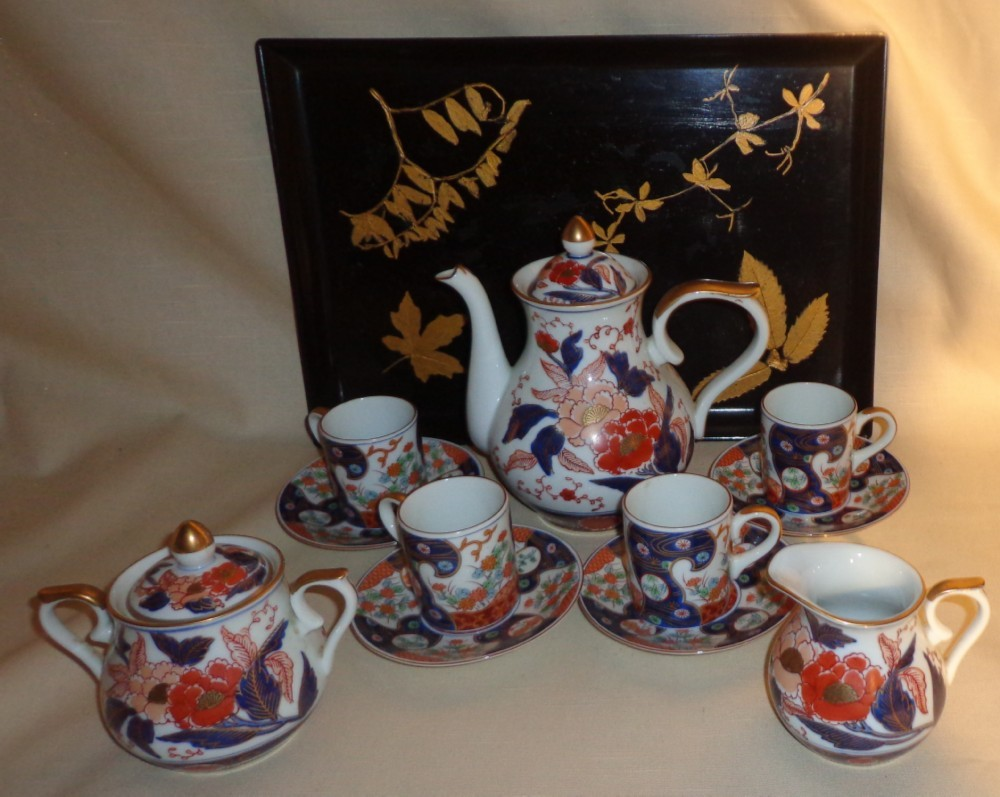 Japanese Imari Tea Set With Lacquer Tray